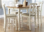 Ocean Isle 5 Piece Splat Back Chairs Counter Height Gathering Table Set in Bisque with Natural Pine Finish by Liberty Furniture - 303-G5454
