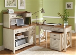 Ocean Isle 4 Piece Home Office Set in Bisque with Natural Pine Finish by Liberty Furniture - 303-HO