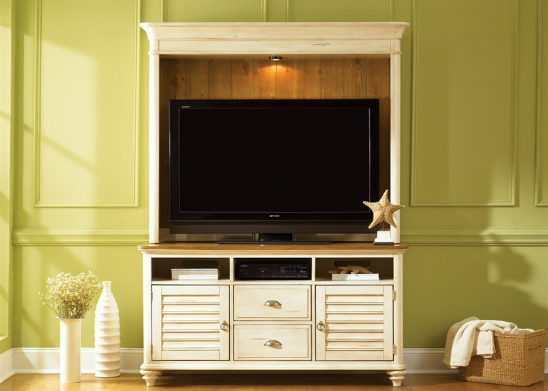 Ocean Isle 63 Inch Tv Stand In Bisque With Natural Pine Finish By