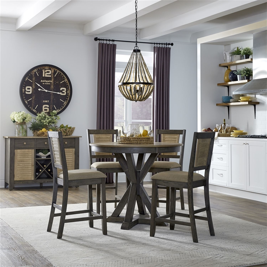 Cypress Lake 42 Inch Gathering Counter Height Round Pedestal Table 5 Piece Dining Set In Two