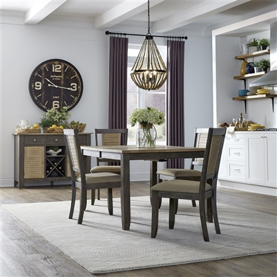 Cypress Lake Leg Table 5 Piece Dining Set in Two-Tone Gray and Natural Finish by Liberty Furniture - 333-CD-5LTS