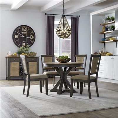 Cypress Lake 42 Inch Round Pedestal Table 5 Piece Dining Set in Two-Tone Gray and Natural Finish by Liberty Furniture - 333-CD-5PDS