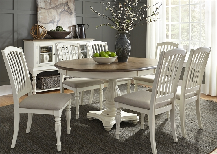 Berland Creek Pedestal Table 7 Piece Dining Set In Two Tone Nutmeg White Finish By