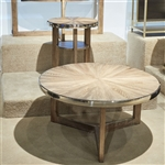 Omega Round Cocktail Table in Wire Brushed Honey Finish by Liberty Furniture - 338-OT1010
