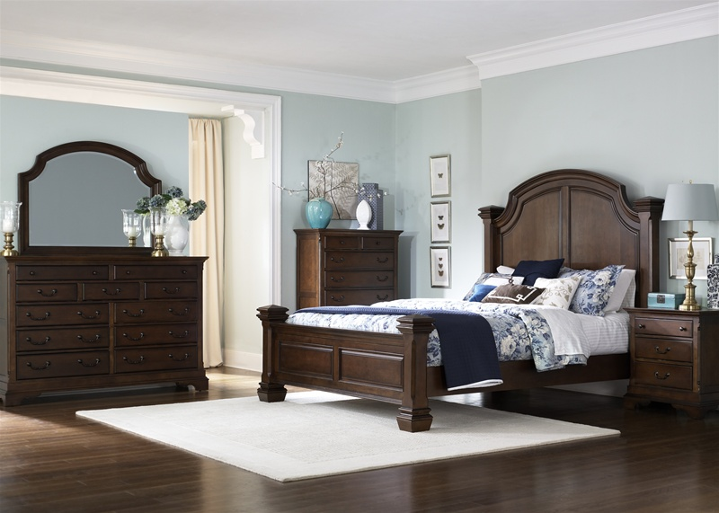 American Traditions Panel Bed 6 Piece Bedroom Set In Wormy Cherry Finish By Liberty Furniture 346 Br