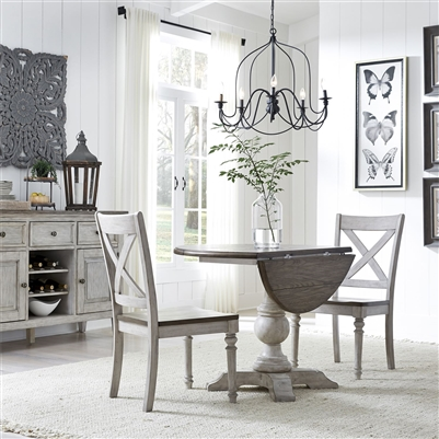 Cottage Lane Drop Leaf Single Pedestal Table 3 Piece Dining Set in Antique White Finish with Weathered Gray Tops by Liberty Furniture - 350-CD-3DLS