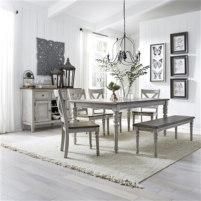 Cottage Lane Rectangular Leg Table 6 Piece Dining Set in Antique White Finish with Weathered Gray Tops by Liberty Furniture - 350-CD-6RTS