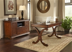 Brookview 2 Piece Home Office Set in Rustic Cherry Finish by Liberty Furniture - LIB-378-HO