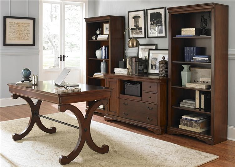 brookview 2 piece home office set in rustic cherry finish
