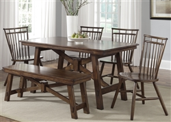 Creations II Rectangular Leg Table 5 Piece Dining Set in Tobacco Finish by Liberty Furniture - 38-T3260