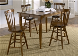 Creations II Gathering Table 5 Piece Counter Height Dining Set in Tobacco Finish by Liberty Furniture - 38-T5454