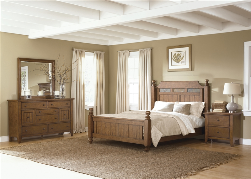 Hearthstone Poster Bed 6 Piece Bedroom Set in Rustic Oak Finish by ...