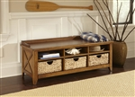 Hearthstone Cubby Storage Bench in Rustic Oak Finish by Liberty Furniture - 382-OT47
