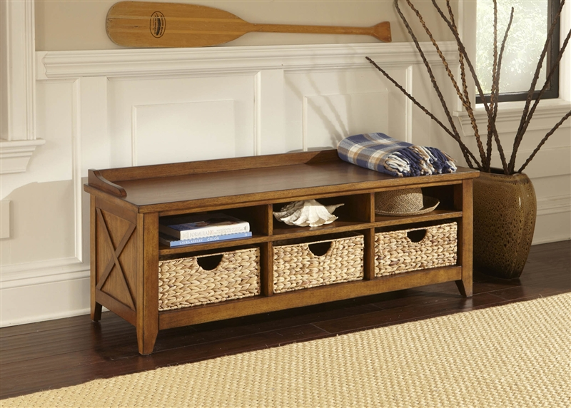 Hearthstone Cubby Storage Bench In Rustic Oak Finish By Liberty Furniture    382 OT47