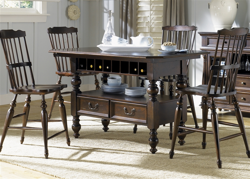 River Street Center Island Counter Height Table 5 Piece Dining Set In Burgundy E Finish By Liberty Furniture