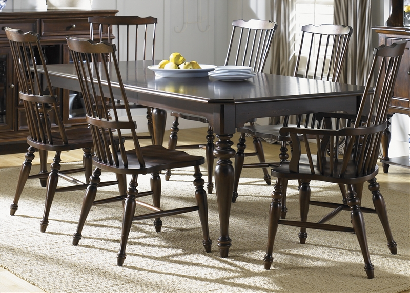 Captivating River Street Rectangular Leg Table 7 Piece Dining Set With Windsor Back  Chairs In Burgundy Spice ...