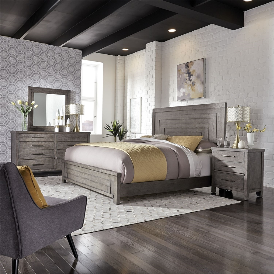 Modern Farmhouse Panel Bed 6 Piece Bedroom Set In Distressed