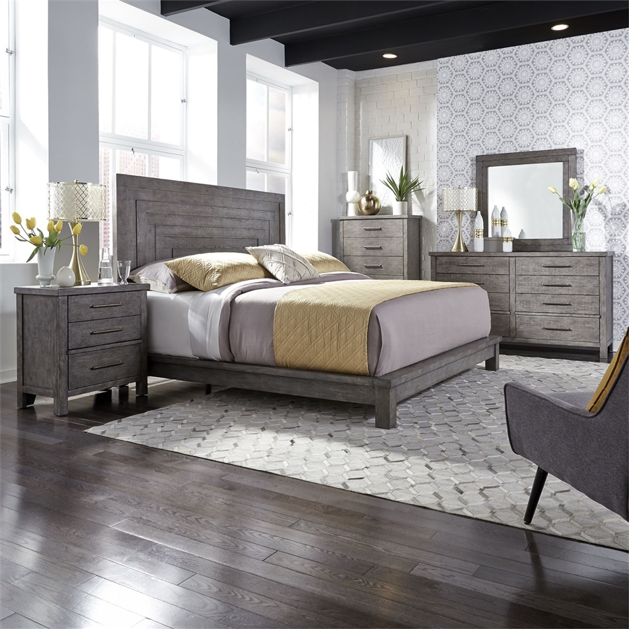 Modern Farmhouse Platform Bed 6 Piece Bedroom Set in Distressed Dusty  Charcoal Finish by Liberty Furniture - 406-BR-QPLDMN