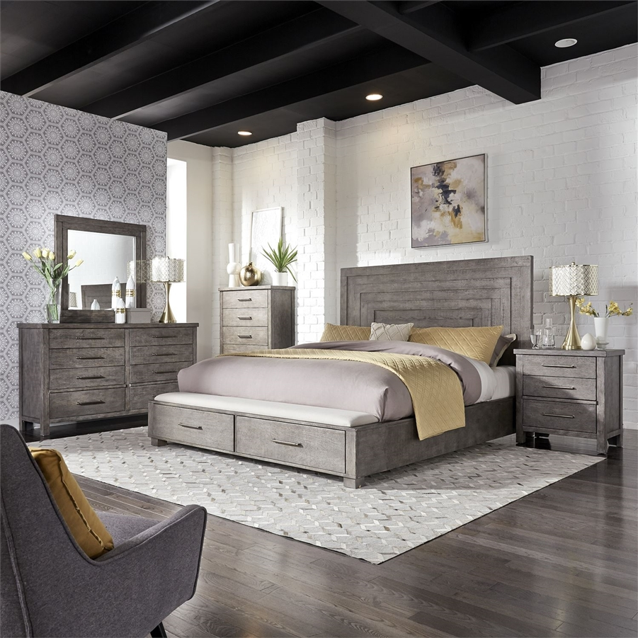 Modern Farmhouse Storage Bed 6 Piece Bedroom Set in Distressed Dusty  Charcoal Finish by Liberty Furniture - 406-BR-QSBDMN