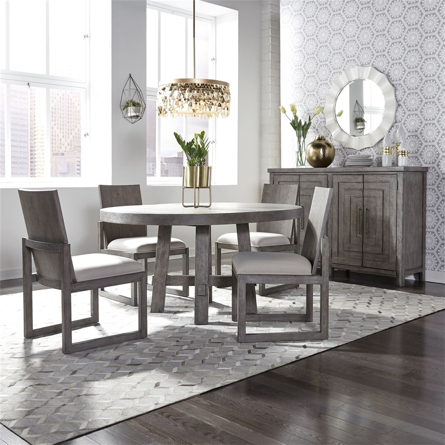 Modern Farmhouse Round Table 5 Piece Dining Set In Dusty Charcoal Finish By Liberty Furniture 406 Dr O5ros