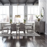 Modern Farmhouse Trestle Table 5 Piece Dining Set in Dusty Charcoal Finish by Liberty Furniture - 406-DR-O5TRS