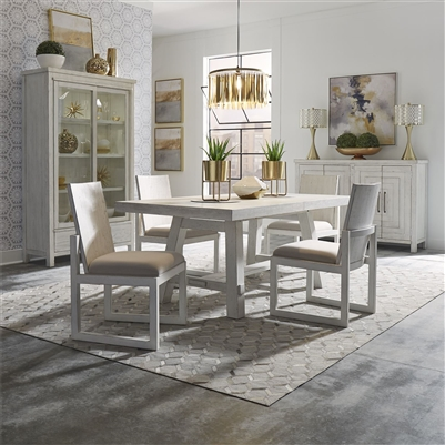 Modern Farmhouse Trestle Table 5 Piece Dining Set in Flea Market White Finish by Liberty Furniture - 406W-DR-O5TRS