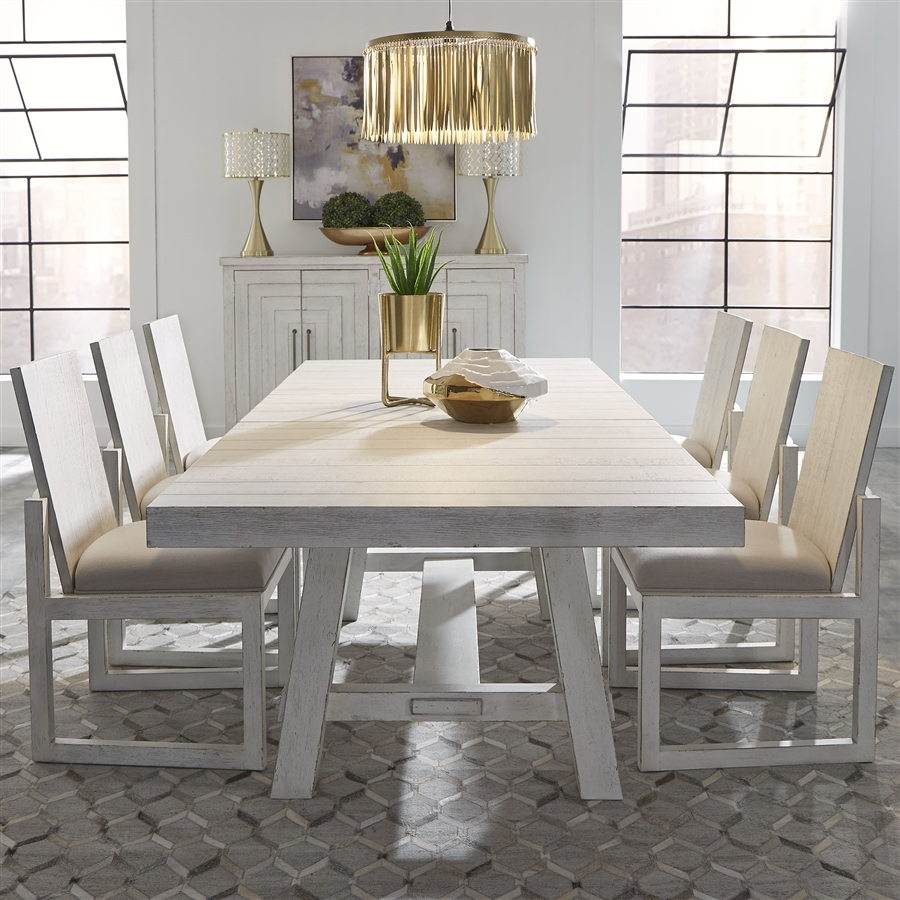 Modern Farmhouse Trestle Table 9 Piece Dining Set in Flea Market White  Finish by Liberty Furniture   9W DR O9TRS