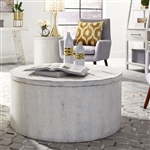 Modern Farmhouse Storage Drum Cocktail Table in Flea Market White Finish by Liberty Furniture - 406W-OT1011