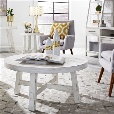 Modern Farmhouse Splay Leg Round Cocktail Table in Flea Market White Finish by Liberty Furniture - 406W-OT1013