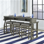 Hayden Way Console Bar Table 4 Piece Set in Gray Wash Finish by Liberty Furniture - 41-OT-4PCS