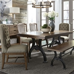 Arlington House Trestle Table 6 Piece Dining Set in Cobblestone Brown Finish by Liberty Furniture - LIB-411-DR-6MIXED