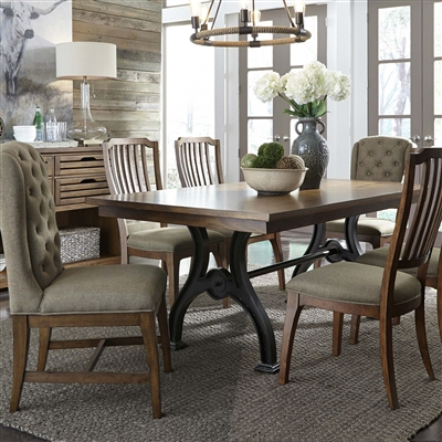 Arlington House Trestle Table 7 Piece Dining Set in Cobblestone Brown Finish by Liberty Furniture - LIB-411-DR-7MIXED