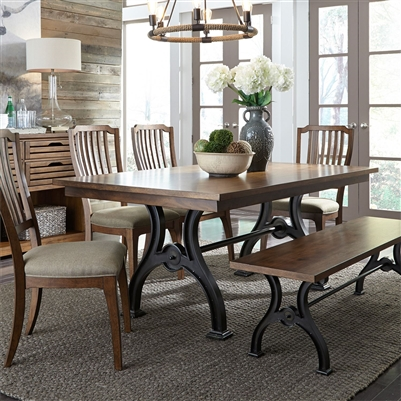 Arlington House Trestle Table 6 Piece Dining Set in Cobblestone Brown Finish by Liberty Furniture - LIB-411-DR-O6TRS