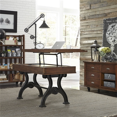 Arlington House Lift Top Writing Desk in Cobblestone Brown Finish by Liberty Furniture - 411-HO109
