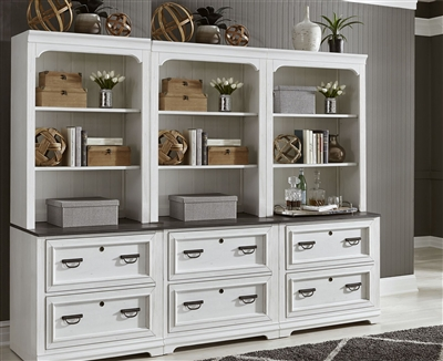 Allyson Park 6 Piece Library Wall in Wirebrushed White Finish by Liberty Furniture - 417-6
