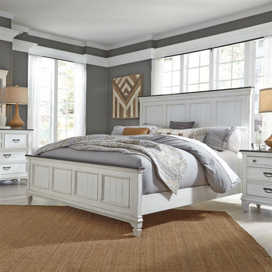 Allyson Park Panel Bed in Wirebrushed White Finish with Wire Brushed  Charcoal Tops by Liberty Furniture - 417-BR-QPB