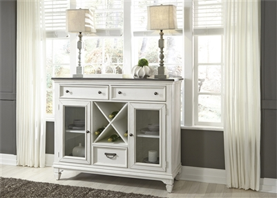 Allyson Park Buffet in Wirebrushed White Finish with Wire Brushed Charcoal Top by Liberty Furniture - 417-CB5444