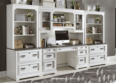Allyson Park 6 Piece Home Office Library Wall in Wirebrushed White Finish by Liberty Furniture - 417-HOJ-6