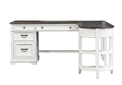 Allyson Park L Shaped Desk in Wirebrushed White Finish by Liberty Furniture - 417-HOJ-D