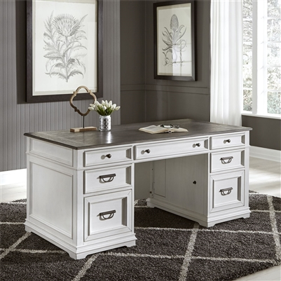 Allyson Park Desk in Wirebrushed White Finish by Liberty Furniture - 417-HOJ-DSK