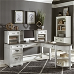 Allyson Park L Shaped Desk with Hutch in Wirebrushed White Finish by Liberty Furniture - 417-HOJ-LSD