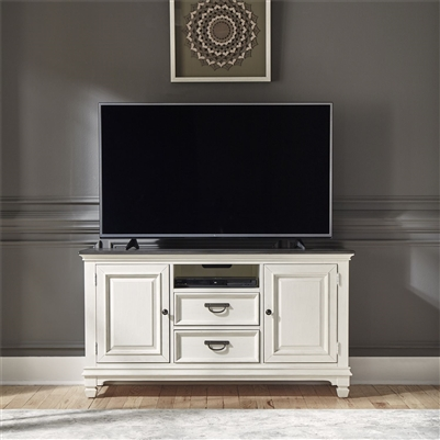 Allyson Park 56 Inch TV Console in Wirebrushed White Finish by Liberty Furniture - 417-TV56
