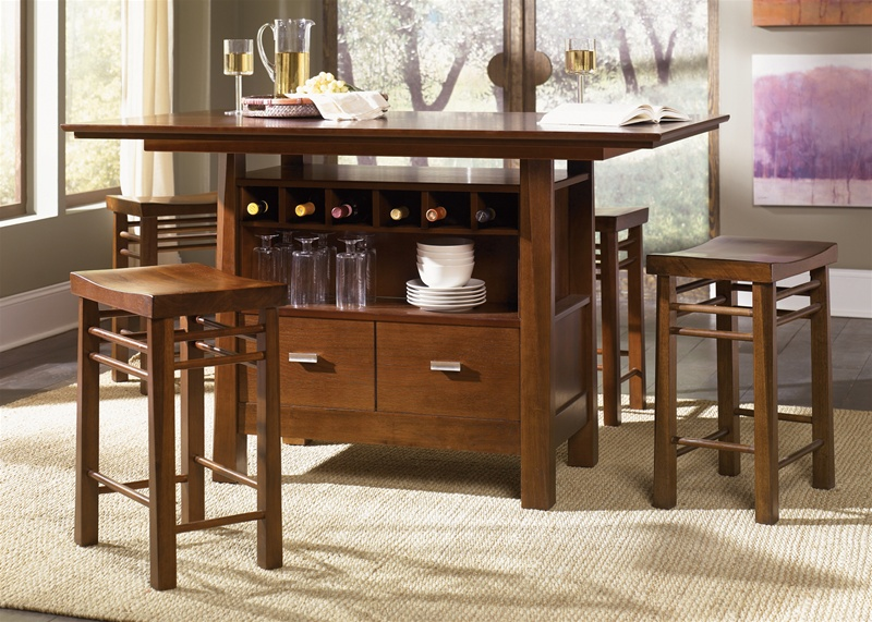 Scottsdale Center Island 5 Piece Dining Set In Rustic Espresso Finish