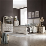 Abbey Road Sleigh Bed 6 Piece Bedroom Set in Porcelain White Finish with Churchill Brown Tops by Liberty Furniture - 455W-BR-QSLDMN
