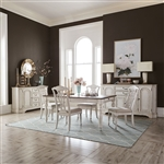 Abbey Road Rectangular Leg Table Splat Back Chair 5 Piece Dining Set in Porcelain White Finish with Churchill Brown Tops by Liberty Furniture - 455W-DR-5RLS