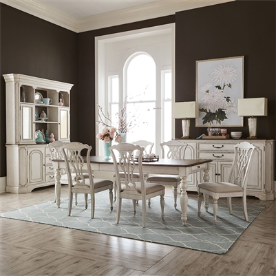 Abbey Road Rectangular Leg Table Splat Back Chair 7 Piece Dining Set in Porcelain White Finish with Churchill Brown Tops by Liberty Furniture - 455W-DR-7RLS