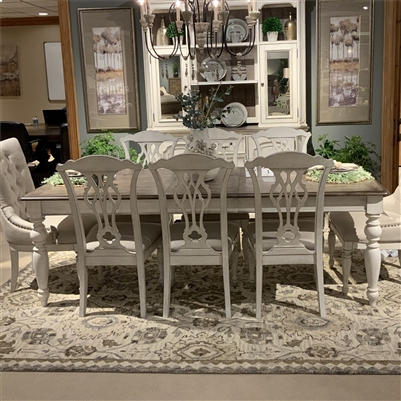 Abbey Road Rectangular Leg Table Mixed Chairs 9 Piece Dining Set in Porcelain White Finish with Churchill Brown Tops by Liberty Furniture - 455W-DR-9