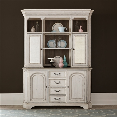 Abbey Road Buffet and Hutch in Porcelain White Finish with Churchill Brown Tops by Liberty Furniture - 455W-DR-HB
