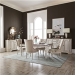 Abbey Road Rectangular Leg Table Tufted Chairs 5 Piece Dining Set in Porcelain White Finish with Churchill Brown Tops by Liberty Furniture - 455W-DR-O5RLS