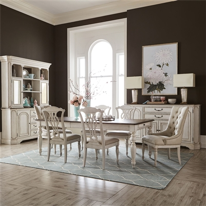 Abbey Road Rectangular Leg Table Tufted Chairs 7 Piece Dining Set in Porcelain White Finish with Churchill Brown Tops by Liberty Furniture - 455W-DR-O7RLS